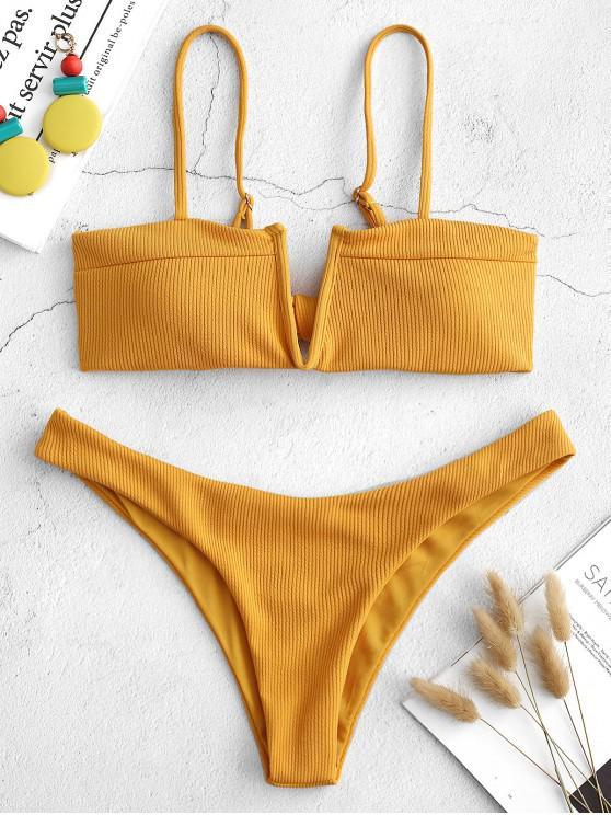women ZAFUL Knot V-wired Ribbed Bikini Set - BEE YELLOW M
