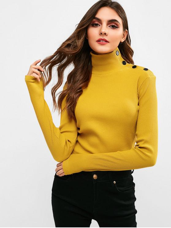 womens ZAFUL Button Ribbed Mock Neck Sweater - BEE YELLOW L