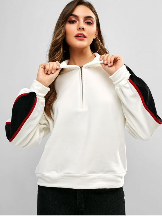 online ZAFUL Half Zip Contrast Velvet Sweatshirt - WHITE M