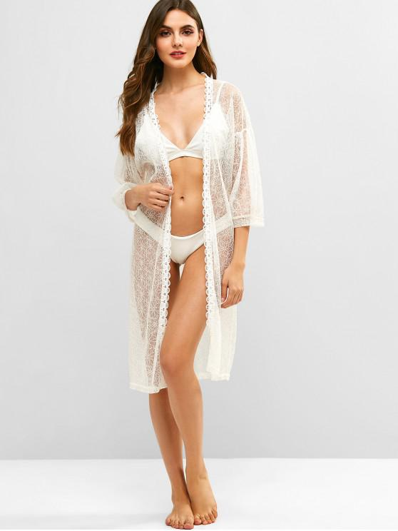 shops Floral Lace Collarless Drop Shoulder Cover Up - WHITE ONE SIZE