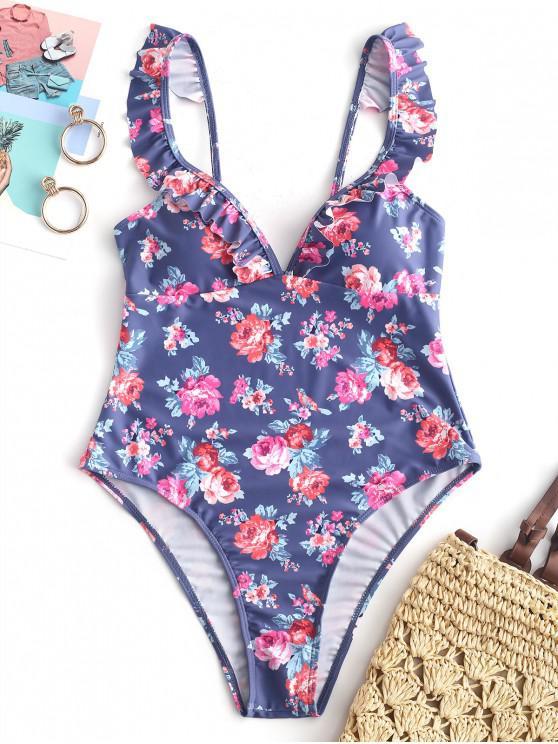 lady ZAFUL Floral Ruffle Open Back Swimsuit - MULTI-A XL