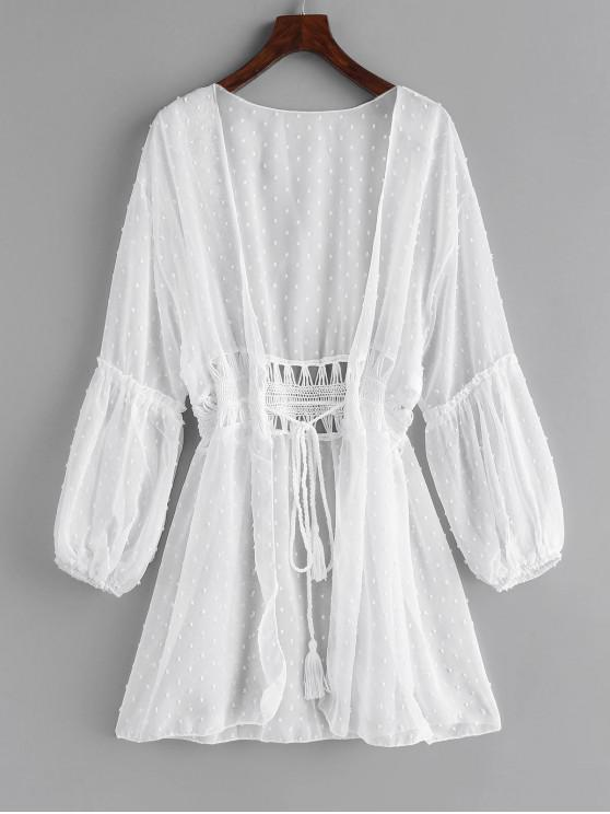 fashion Lantern Sleeve Crochet Longline Cover Up - WHITE ONE SIZE