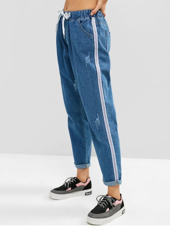 trendy Rolled Hem Ripped Boyfriend Drawstring Jeans - BLUE KOI L