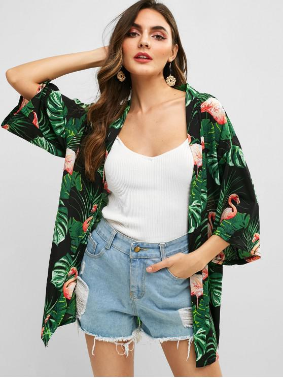 ladies Belted Flamingo Palm Leaves Blouse - BLACK L