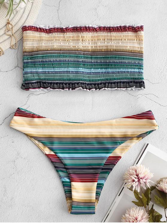 Bikini fruncido a rayas de colores fruncidos con volantes - Multicolor-A S