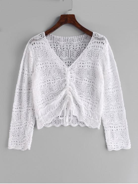 hot Cinched Crochet Beach Cover Up - WHITE ONE SIZE