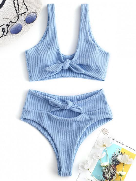 outfits ZAFUL Ribbed Tied High Leg Bikini Set - DAY SKY BLUE M
