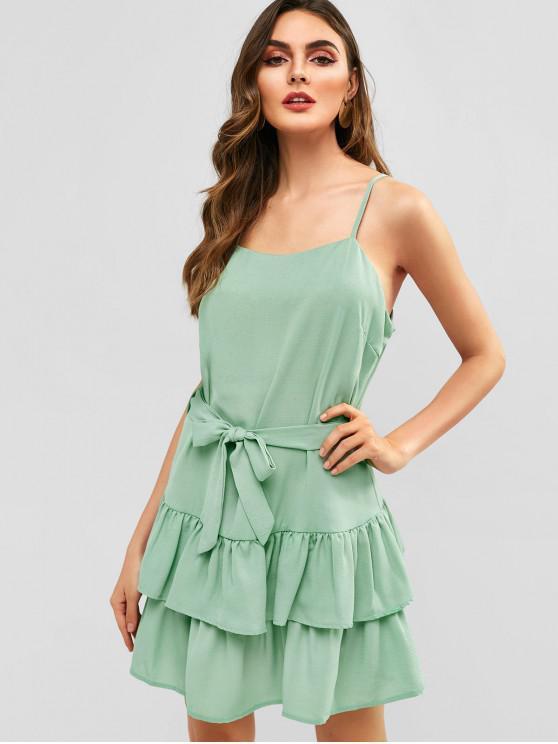 shop Belted Layered Ruffles Cami Dress - DARK SEA GREEN S