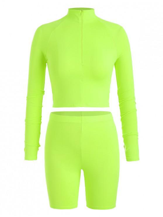 best Neon Gym Zip Tee and Biker Shorts Set - GREEN YELLOW M