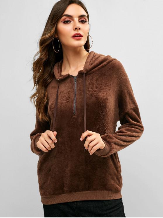 ladies Drop Shoulder Half Zip Fluffy Hoodie - DEEP COFFEE S