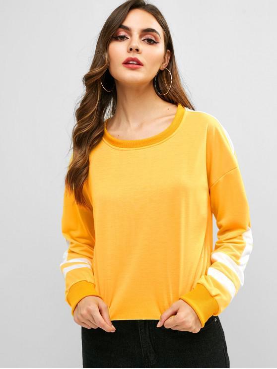 women's Crew Neck Contrast Striped Sweatshirt - SUN YELLOW M