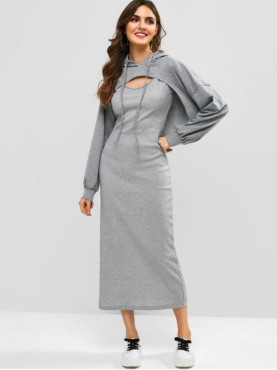 sale Cut Out Hoodie and Sleeveless Dress Set - GRAY XL