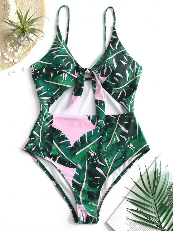 sale ZAFUL Cutout Knot Tropical Leaf Swimsuit - PIG PINK S