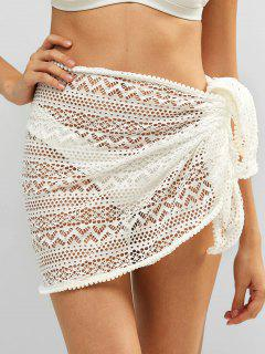 Bobble Trim Lace Sarong - White