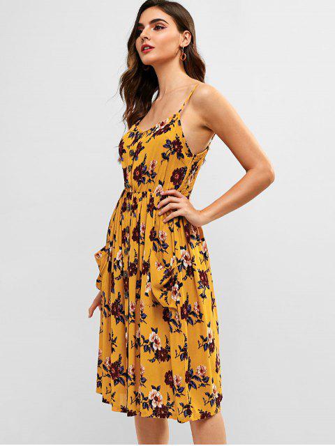 ZAFUL Floral bolsillo Cami una línea vestido - Amarilla de Abeja  L Mobile