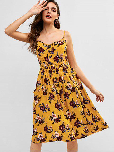 ZAFUL Floral bolsillo Cami una línea vestido - Amarilla de Abeja  S Mobile