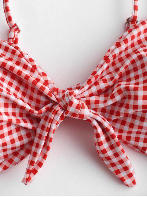 ZAFUL Gingham Knot Cut Out traje de baño - Rojo Lava S Mobile