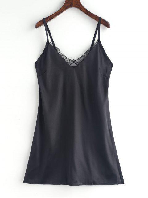 women Lace Insert Satin Pajama Dress - BLACK L Mobile
