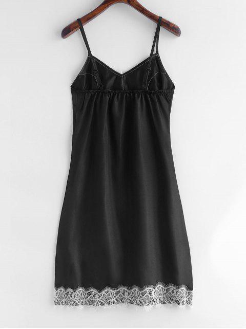 shop Lace Insert Slit Satin Pajama Dress - BLACK S Mobile