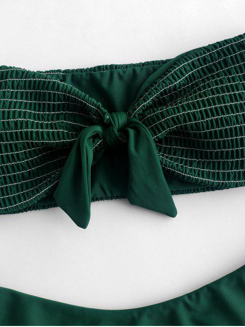 Bikini con estampado de bandeau de Smocked Tied - Bosque Verde Mediana L Mobile
