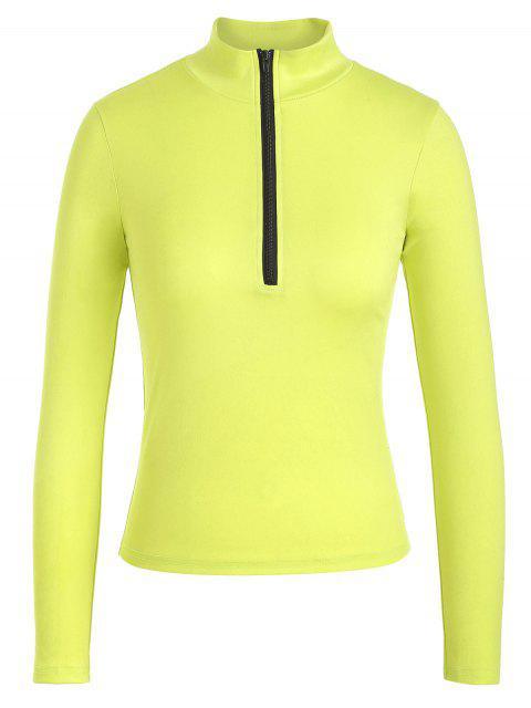 ZAFUL media cremallera soporte cuello camiseta - Té Verde S Mobile