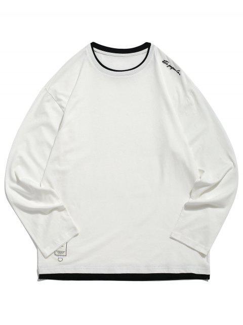 Applique Letters imprimir Panel Hem camiseta casual - Crema de Cristal M Mobile