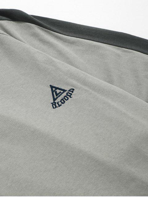 hot Color Block Panel Raglan Sleeevs T-shirt - DARK GRAY 3XL Mobile