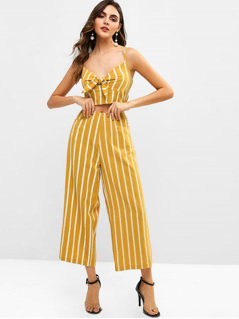 women's ZAFUL Smocked Stripes Tie Front Top Set - BEE YELLOW S Mobile