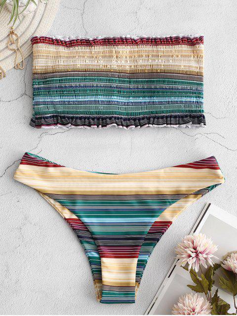 women ZAFUL Frilled Colorful Striped Smocked Bikini Set - MULTI-A L Mobile