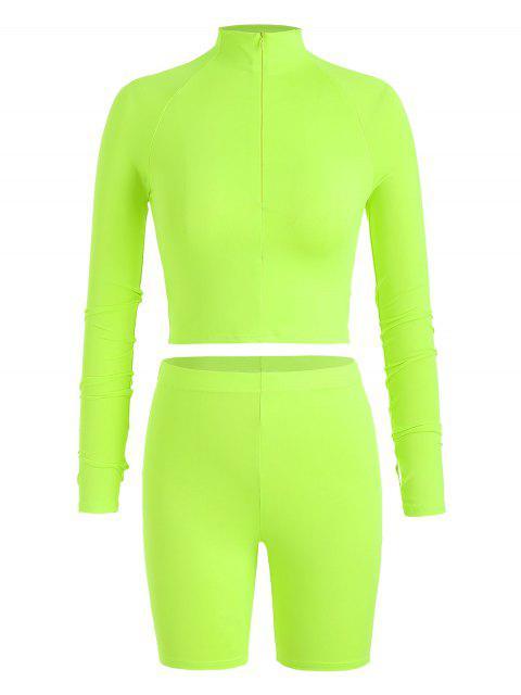 Conjunto de camiseta con cremallera y pantalones cortos de ciclista de Neon Gym - Verde Amarillo L Mobile