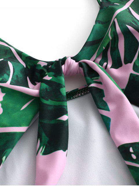 ZAFUL С вырезом С бантом Тропический принт листа Купальник - Свинья-розовый S Mobile