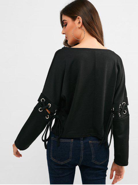 lady Criss Cross Plain Crop Tee - BLACK L Mobile