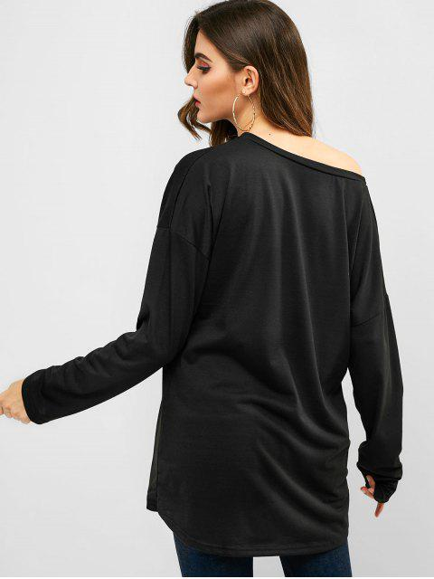 outfits Skew Neck Longline Solid Tee - BLACK XL Mobile