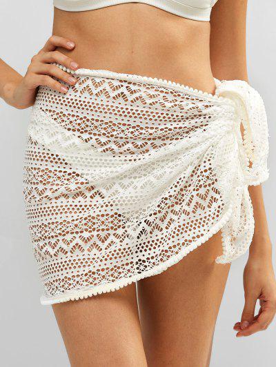 Bobble Trim Lace Sarong - White