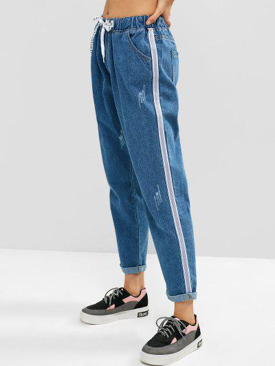 da15b746260 Rolled Hem Ripped Boyfriend Drawstring Jeans - Blue Koi S ...