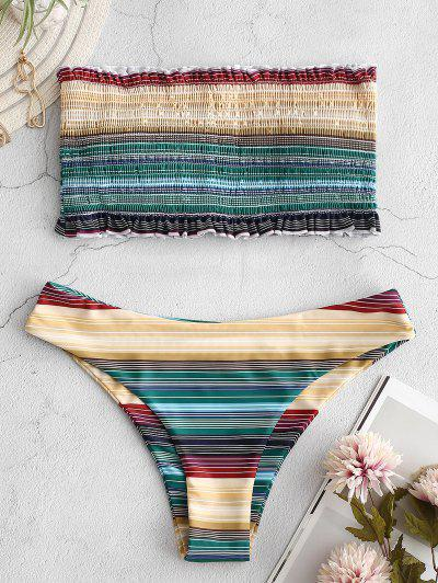 ZAFUL Frilled Colorful Striped Smocked Bikini Set - Multi-a S
