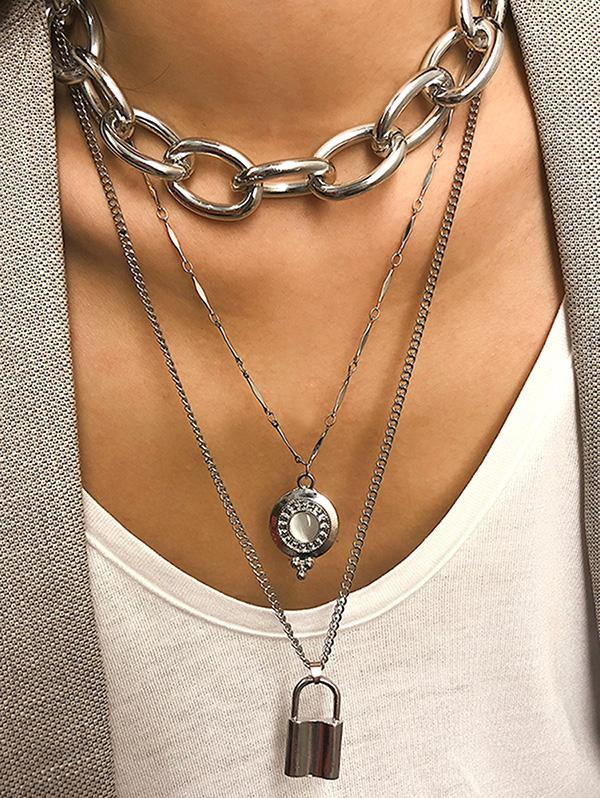 Layered Link Chain Lock Necklace, Silver