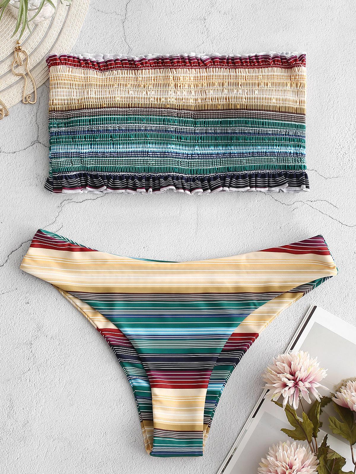 ZAFUL Frilled Colorful Striped Smocked Bikini Set