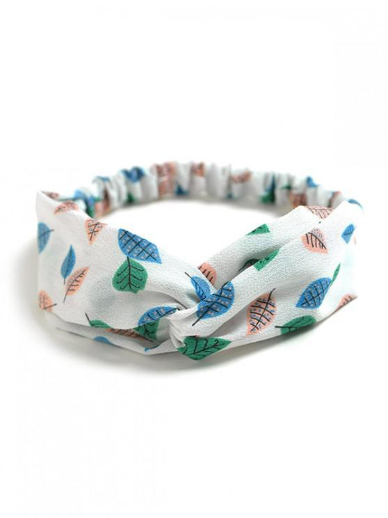 sale Leaf Print Cloth Elastic Headband - WHITE