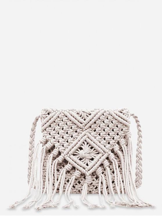 buy Tassel String Weaving Shoulder Bag - WHITE