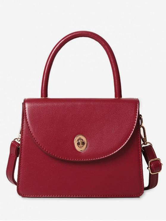 latest Solid Ins Style Leather Shoulder Bag - RED