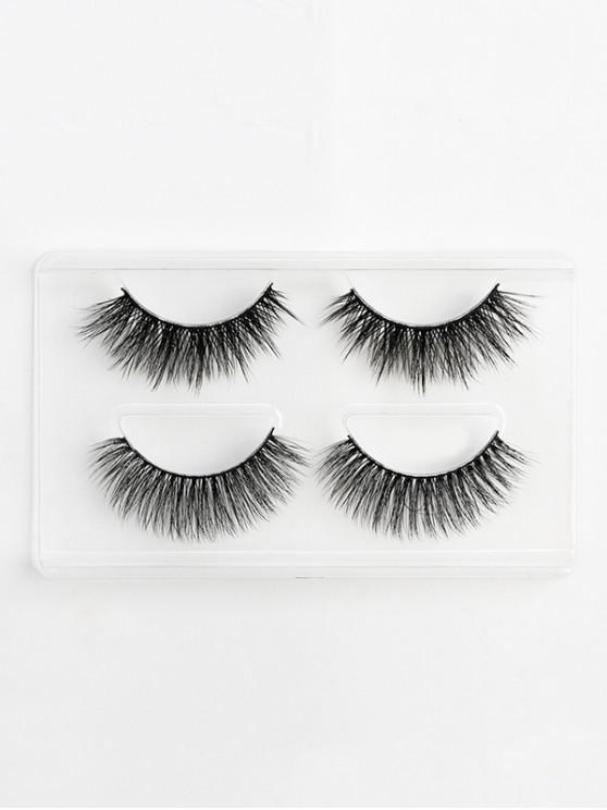 women 2Pcs 3D Mink Hair Curl Thick Layered False Eyelashes - BLACK