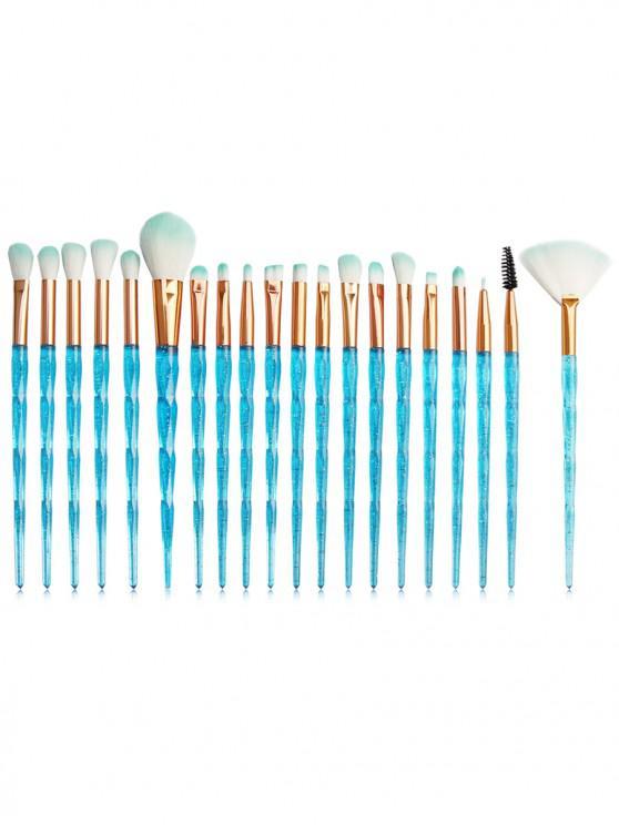 hot 20Pcs Glistening Nylon Makeup Brushes Set - BLUE HOSTA