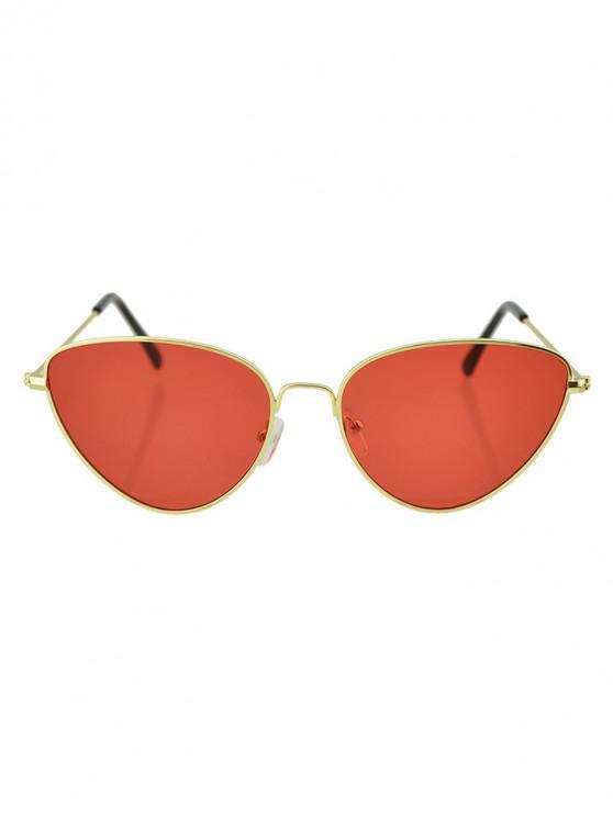 latest Beach Catty Eye Triangle Sunglasses - LAVA RED