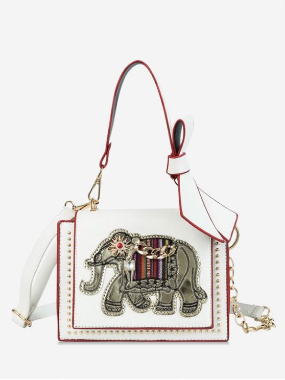 women Elephant Print Bowknot Decorated Shoulder Bag - WHITE