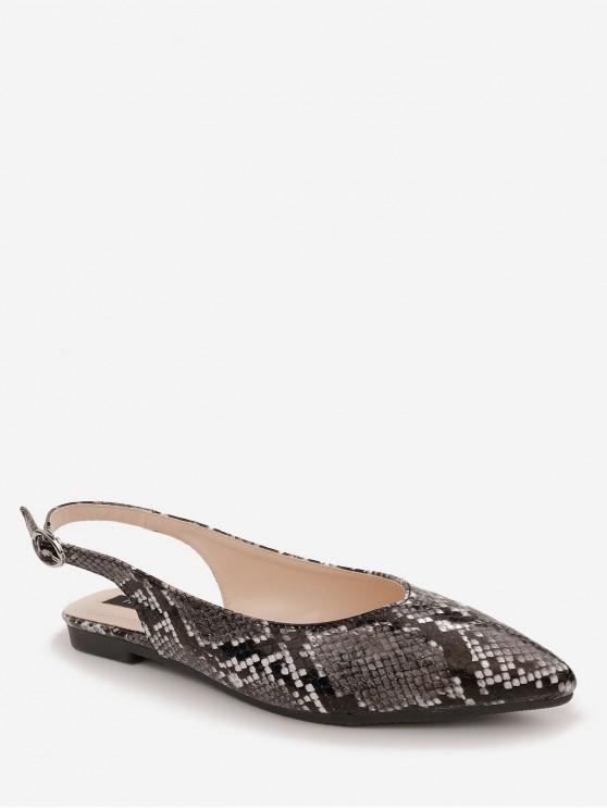 ladies Snake Pointed Toe Slingback Flats - BLACK EU 37