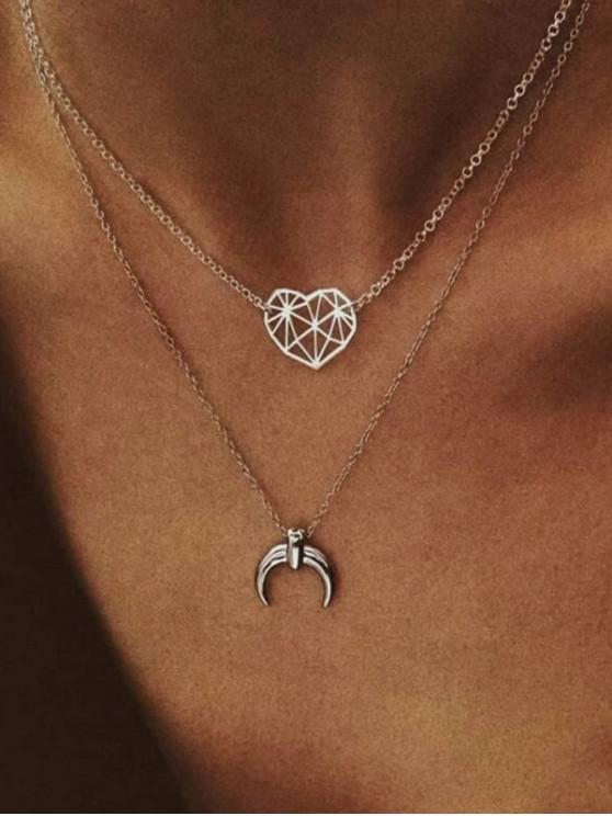 trendy Layered Moon Heart Chain Necklace - SILVER
