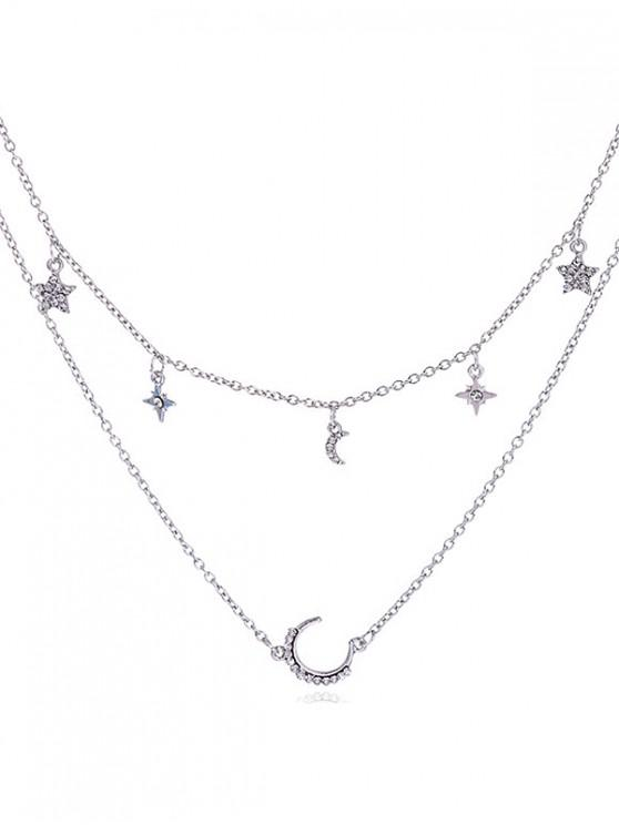 fashion Double Layer Moon Star Chain Necklace - SILVER