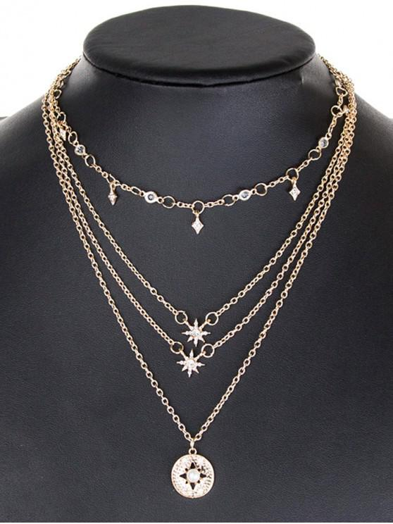online Multilayered Star Chain Necklace - GOLD
