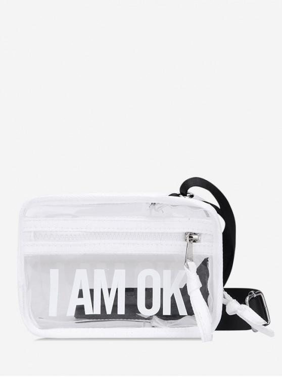 trendy Transparent Character Pattern Crossbody Bag - WHITE